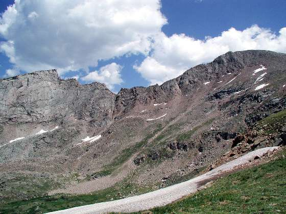 The sawtooth (left) and Bierstadt summit -14,060 ft (right)