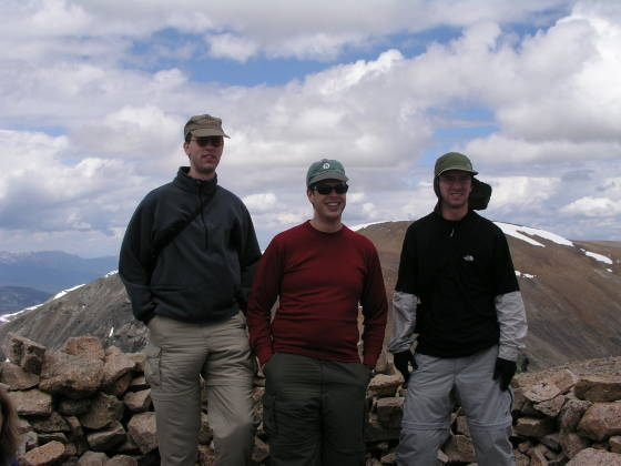 Lonny, Brian, and Adam on top of Bross summit