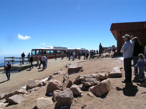 All the tourists getting on the cog railway
