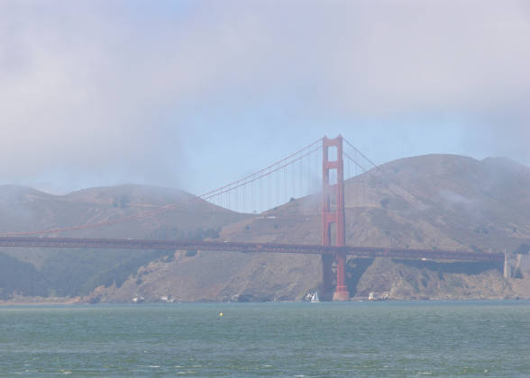 The south Golden Gate Pylon visible for the first and only time