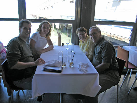 "Brian, Lisa, Elaine and Joe eating lunch at ""Butterfly"""