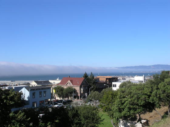 Fog creeping across the bay towards Berkeley