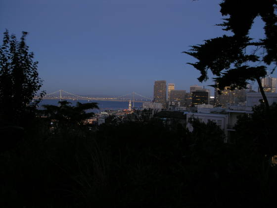 Overlooking the Bay Bridge from Telegraph Hill at dusk