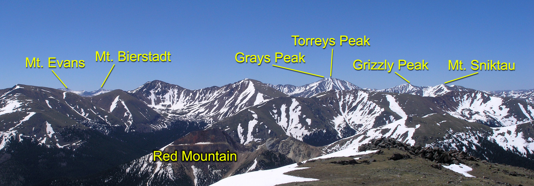 A distant view of Greys, Torreys, Grizzly, and Sniktau Mountain
