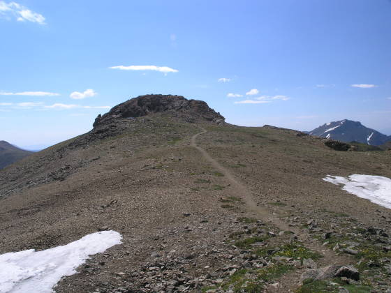 The summit block of Mt. Belford (Mt. Harvard on right)