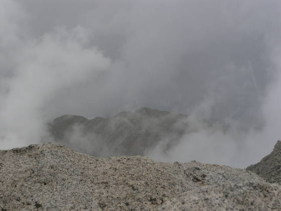 The summit of Tabeguache, visible briefly through the clouds