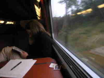 Lisa reading on the train