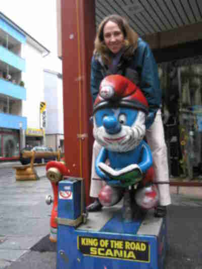 Lisa, with Papa Smurf in Brig, Switzerland