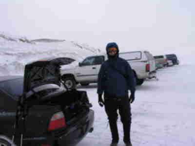 Brian, bundled up at the trailhead