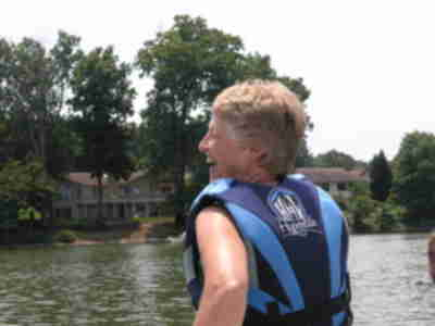 Joan, before waterskiing with Jay