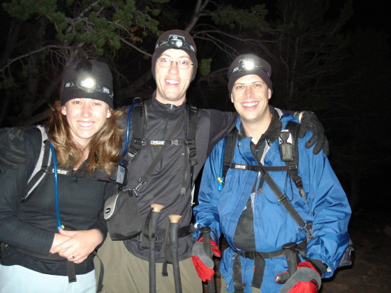 Lisa, Lonny, and Brian setting off for the Keyhole route at 3:55 AM