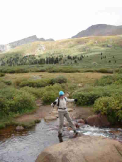 Kathy, stream crossing