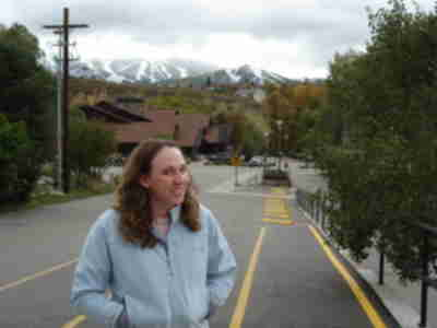 Lisa, with the ski mountain in the background