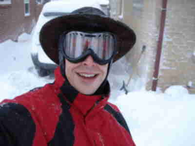 The wind was blowing so hard, I had to shovel with ski goggles on