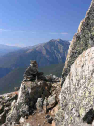 A cairn marking the trail through the boulder field