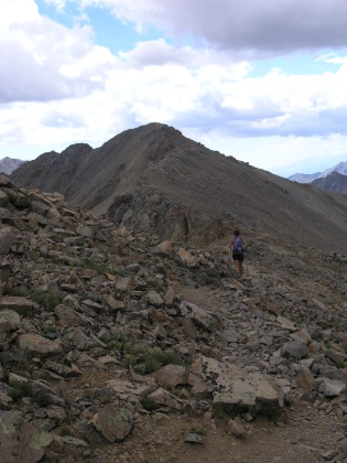 Shari, up on the ridge (13,900 feet) that snakes up to the summit