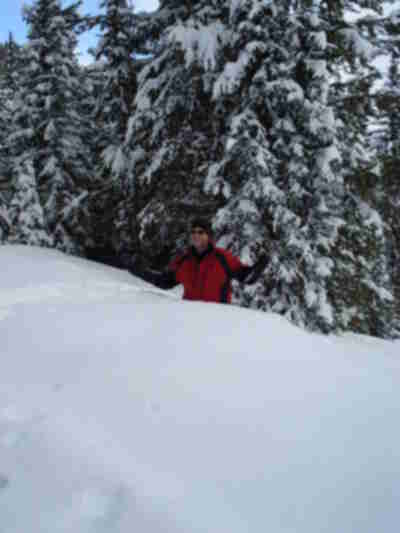 Waist deep in powder, cutting down a Christmas tree