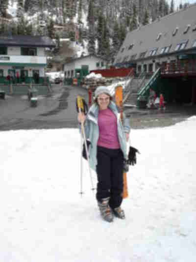 Tracy with her skis