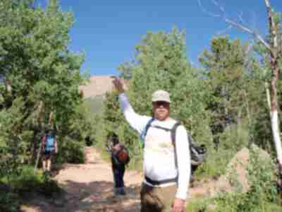 Brad points out where we hiked to