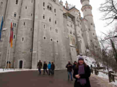 Lisa in front of Neuschwanstein Castle