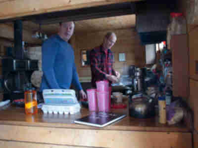 Tory and Steve prepare breakfast