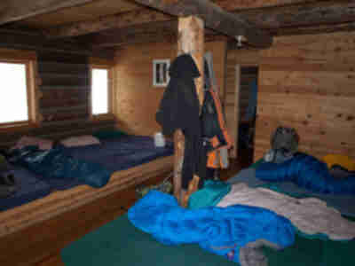 The sleeping area downstairs in the hut