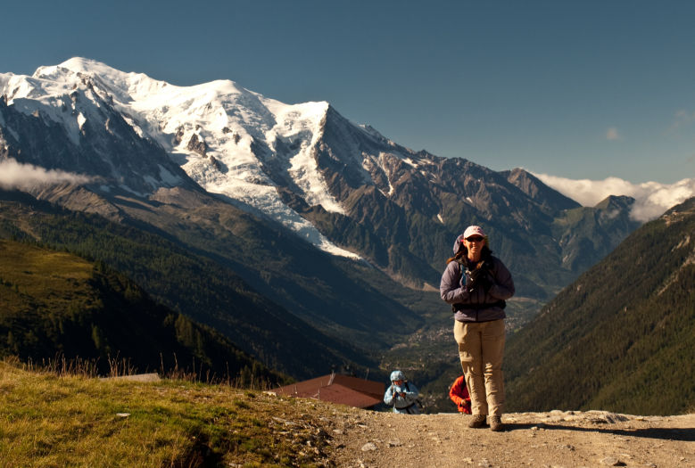 Starting the hike up and out of Le Tour - Mont Blanc in the background