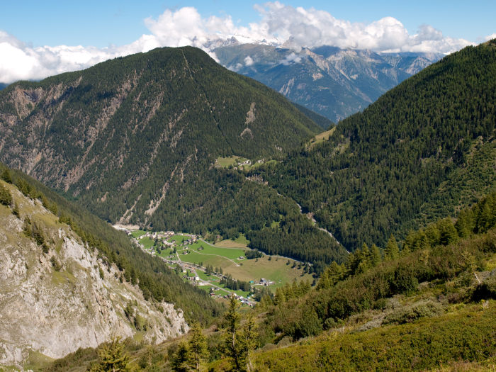Trient (4268 ft) and Col de La Forclaz (5017 ft) in the valley below