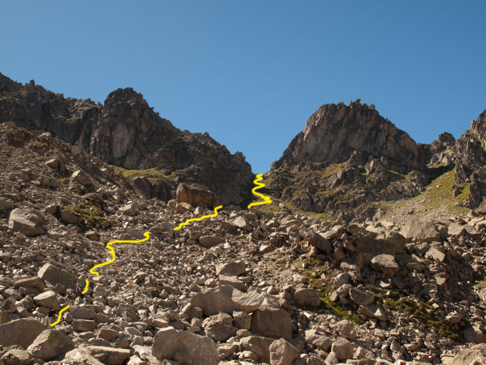 The trail coming down from the pass through a boulder field