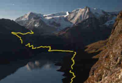 The route around Lac des Dix and up over Pas de Chevres (9368 ft)