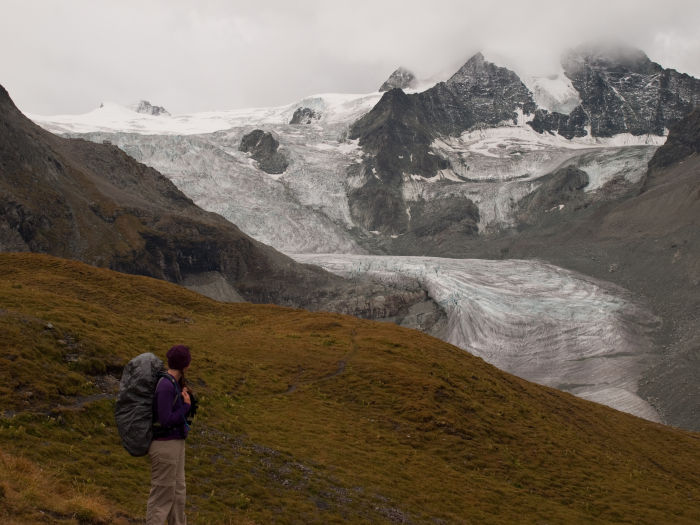 Looking back for one more view<br/>of the glacier before the clouds move in