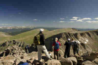 People looking down towards the Sawtooth