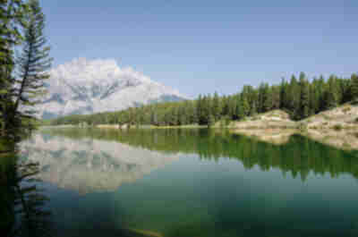 Cascade Mountain reflects in Johnson Lake
