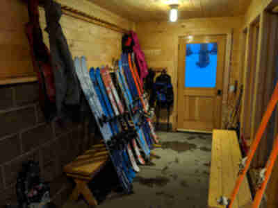 Thawing the skis in the mud room